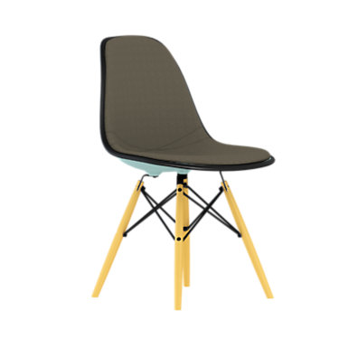 DSW.U47OUZAZF14A20E9: Customized Item of Eames Upholstered Molded Plastic Side Chair with Dowel Leg Base by Herman Miller (DSW.U)