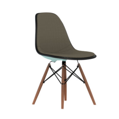 DSW.U47OUZM11114A45E9: Customized Item of Eames Upholstered Molded Plastic Side Chair with Dowel Leg Base by Herman Miller (DSW.U)