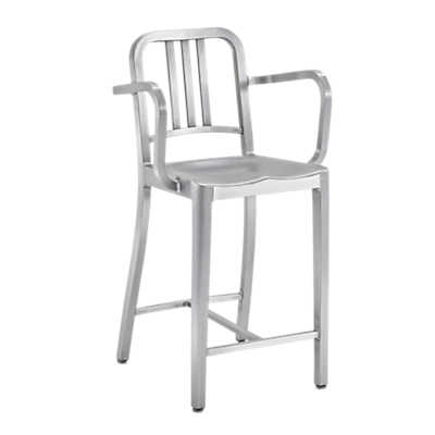 Picture of Navy Counter Stool with Arms