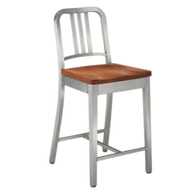 Picture of Navy Counter Stool with Wood Seat