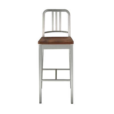 Picture of Navy Barstool with Wood Seat