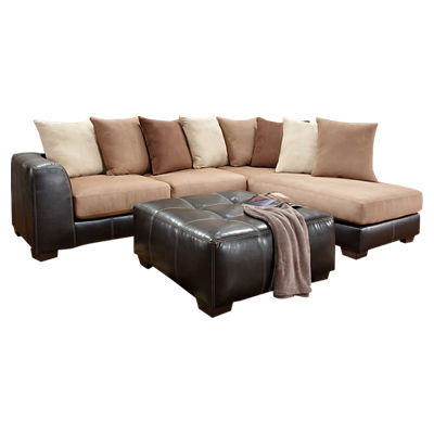 Exceptional Designs Microfiber L Shaped Sectional Smart