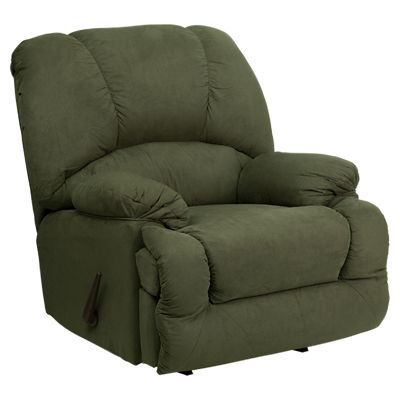 Picture of Contemporary Glacier Olive Microfiber Chaise Rocker Recliner