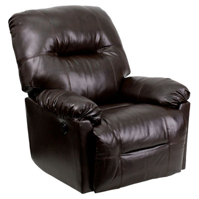 Picture of Contemporary Bentley Brown Leather Chaise Power Recliner