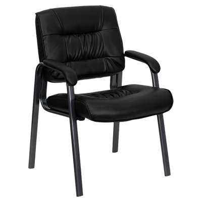 Picture for Black Leather Executive Side Chair with Titanium Frame Finish
