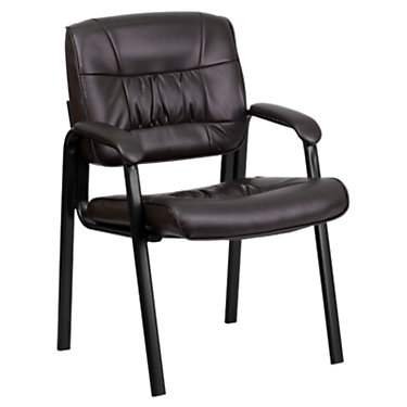 FFBT-1404-WH-GG: Customized Item of Leather Guest or Reception Chair with Black Frame Finish (FFBT-1404)