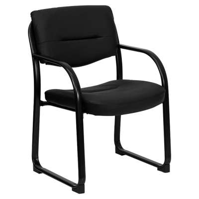 Picture for Black Leather Executive Side Chair with Sled Base