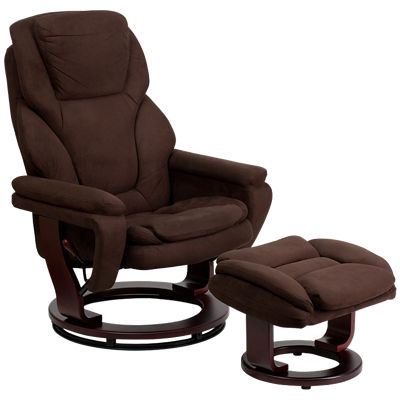Picture of Contemporary Brown Microfiber Recliner and Ottoman with Wood Base