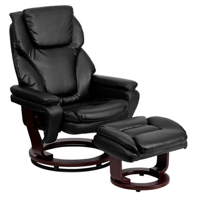 Picture of Contemporary Leather Recliner and Ottoman with Wood Base