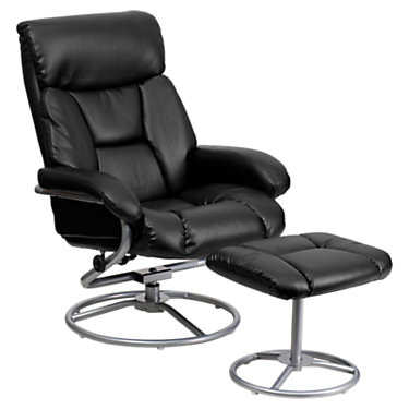 FFBT-70230-BK-CIR-GG: Customized Item of Contemporary Leather Recliner and Ottoman (FFBT-70230)