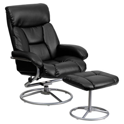FFBT-70230-BRN-CIR-GG: Customized Item of Contemporary Leather Recliner and Ottoman (FFBT-70230)