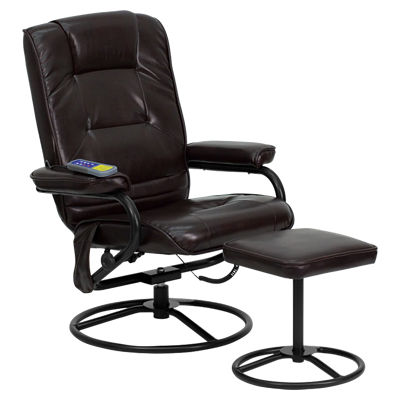 Picture of Massaging Brown Leather Recliner and Ottoman