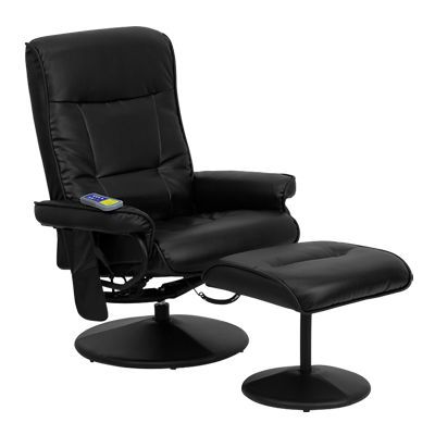 Picture of Massaging Black Leather Recliner and Ottoman
