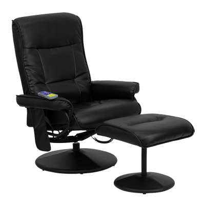 Picture for Massaging Black Leather Recliner and Ottoman