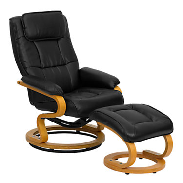 FFBT-7615-BK-CURV-GG: Customized Item of Contemporary Leather Recliner and Ottoman with Maple Wood Base (FFBT-7615)