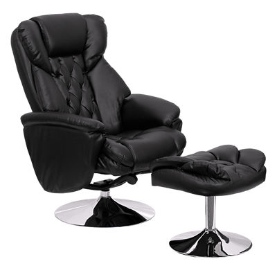 Picture of Transitional Black Leather Recliner and Ottoman