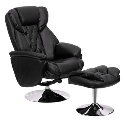 Picture for Transitional Black Leather Recliner and Ottoman