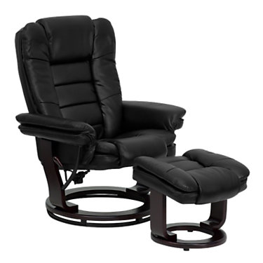 FFBT-7818-BK-GG: Customized Item of Contemporary Leather Recliner and Ottoman with Swiveling Base (FFBT-7818)