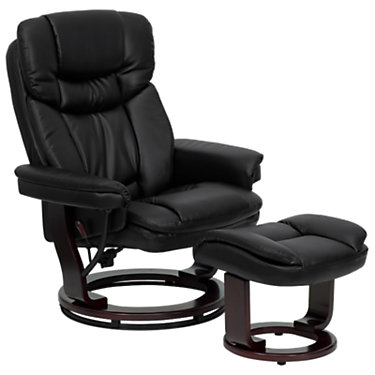 FFBT-7821-BK-GG: Customized Item of Contemporary Leather Recliner and Ottoman with Mahogany Wood Base (FFBT-7821)