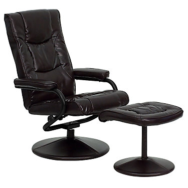 FFBT-7862-BK-GG: Customized Item of Contemporary Leather Recliner and Ottoman with Leather Wrapped Base (FFBT-7862)