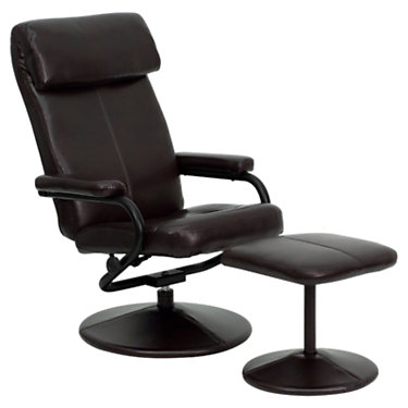 FFBT-7863-BURG-GG: Customized Item of Contemporary Leather Recliner and Ottoman with Leather Base (FFBT-7863)