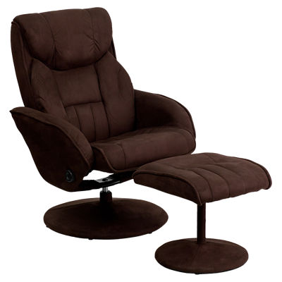 Picture of Contemporary Brown Microfiber Recliner and Ottoman