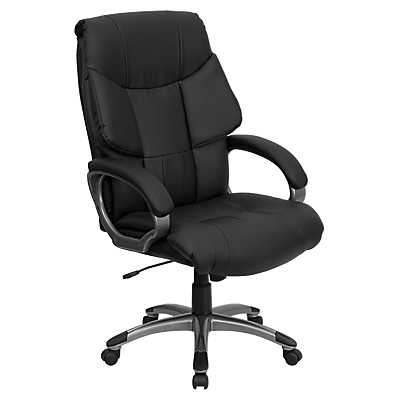 High Back Leather Executive Office Chair With Casters