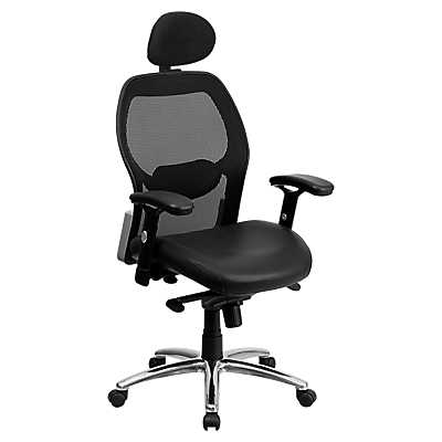 details for high back super mesh office chair with black leather seat