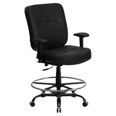 Picture for Hercules Big & Tall Black Leather Drafting Stool with Arms