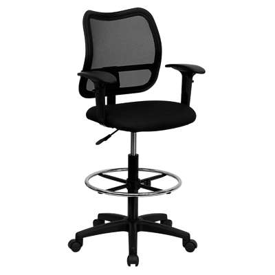 Picture for Mid-Back Mesh Drafting Stool with Fabric Seat and Arms