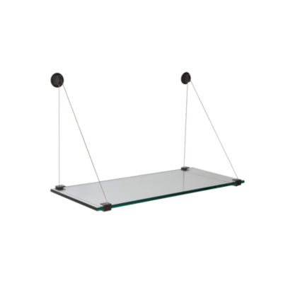 GCABLESHF8x36-BLACK CONNECTOR: Customized Item of Floating Glass Cable Shelf by Smart Furniture (GCABLESHF)