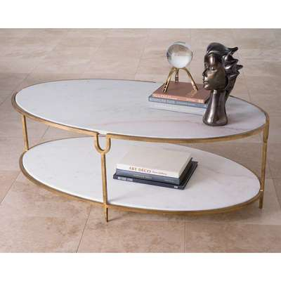 Picture for Iron and Stone Oval Coffee Table by Global Views