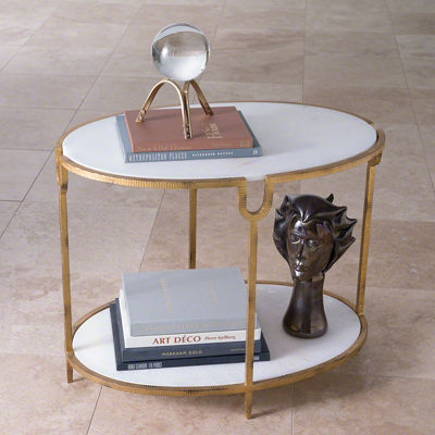 Picture of Iron and Stone Side Table by Global Views