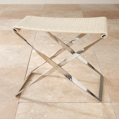 Picture of Woven Leather Folding Bench by Global Views
