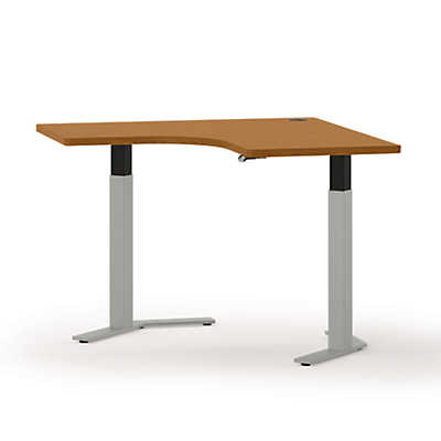 "Picture of Systems 41"" Wide Curved Adjustable Height Corner Table"