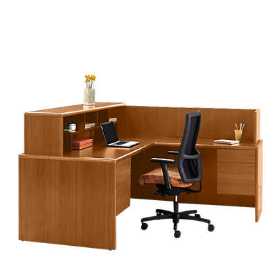 Picture of 10700 Series L-Shaped Reception Desk 1 by Hon
