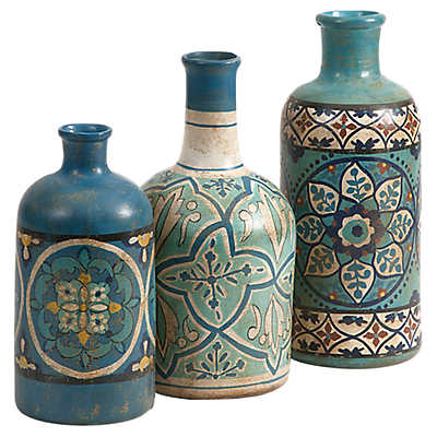 Picture of Kabir Hand Painted Bottles by IMAX, Set of 3
