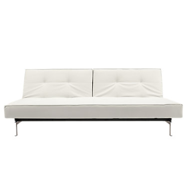 IN94741010C-WHITE LEATHER-LACQUERED OAK: Customized Item of Splitback Sofa Bed by Innovation-USA (IN94741010C)