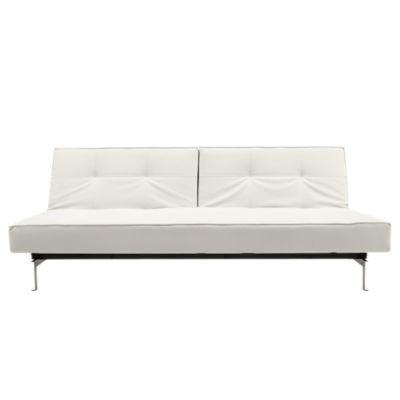 IN94741010C-WHITE LEATHER-STAINLESS STEEL: Customized Item of Splitback Sofa Bed by Innovation-USA (IN94741010C)