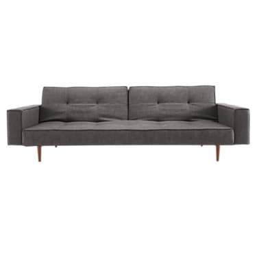 IN94741012001C-LIGHT WOOD-BLACK LEATHER: Customized Item of Splitback Sofa Bed with Arms by Innovation-USA (IN94741012001C)