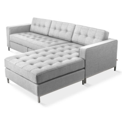 JANEBI-PARLIAMENT STONE-STAINLESS: Customized Item of Jane Bisectional Sofa by Gus Modern (JANEBI)