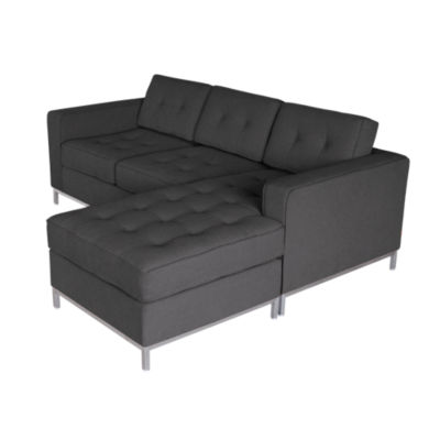 JANEBILOFT-URBAN TWEED INK-STAINLESS: Customized Item of Jane Loft Bisectional Sofa by Gus Modern (JANEBILOFT)