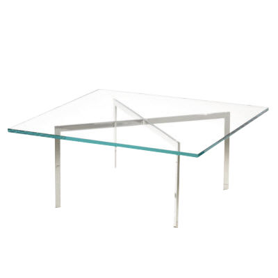 "KN252-CLEAR: Customized Item of Barcelona Table by Knoll, 17"" Tall (KN252)"