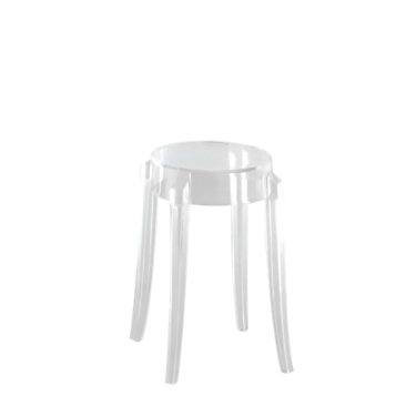 KTCGL2PK-GLOSSY BLACK: Customized Item of Charles Ghost Stool by Kartell, Set of 2 (KTCG)