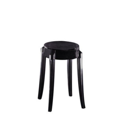 KTCGM2PK-GLOSSY BLACK: Customized Item of Charles Ghost Stool by Kartell, Set of 2 (KTCG)