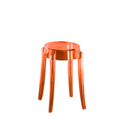 KTCGL2PK-ORANGE: Customized Item of Charles Ghost Stool by Kartell, Set of 2 (KTCG)