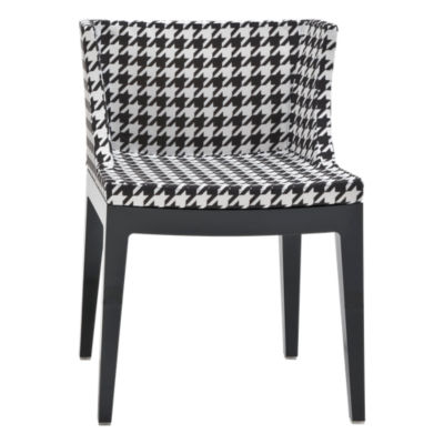 KTMMC-BLACK_PIED DE POLE HOUNDSTOOTH: Customized Item of Mademoiselle Printed Chair by Kartell (KTMMC)