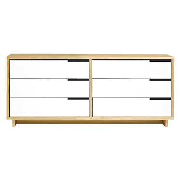 MDDR.0001-W-WH-WH-WH-WH-WH-GB: Customized Item of Modu-licious Low Dresser by Blu Dot (MDDR.0001)