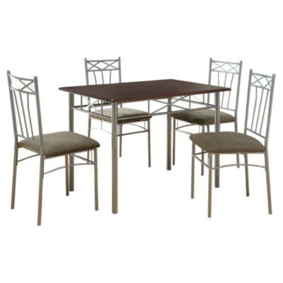 Picture of Cappuccino and Silver 5-Piece Dining Set by Monarch