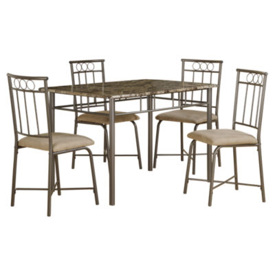 Picture of Cappuccino Marble and Bronze 5-Piece Dining Set by Monarch